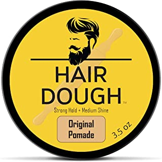 Hair Dough Mens Hair Pomade, Medium Hold and Moderate Shine Pomade for Men, Water Based and Lightly Scented for Straight, Thick and Curly Hair, 4oz
