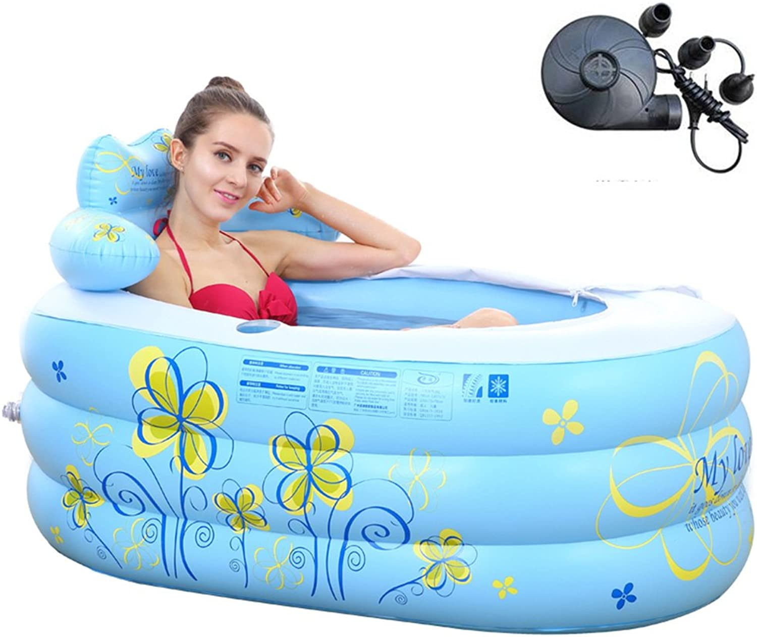 Xi Man Shop Inflatable bath barrel thickened insulation bath inflatable folding bath soak bath thick insulation, double drainage system, with cover (color   bluee, Size   Hand pump)