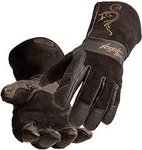 AngelFire Stick/MIG Welding Gloves - Black with Beige Flourish, Size Small
