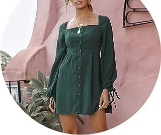 Women Solid Mini Dress Spring Summer Long Sleeve Square Collar Dress Backless Slim Draped Pencil Dresses