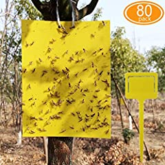 80 sheets 8x6 inch dual-sided sticky traps with 80pcs twist ties and 14pcs plastic holders. Place the sticky traps tightly on the yellow plastic holder, then insert it into the underground, very helpful for small plants. Dual-sided strong glue ensure...