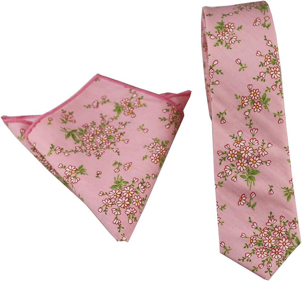 Coachella Ties Pink Flowers Cotton Necktie Skinny Tie Pocket Square Bowtie