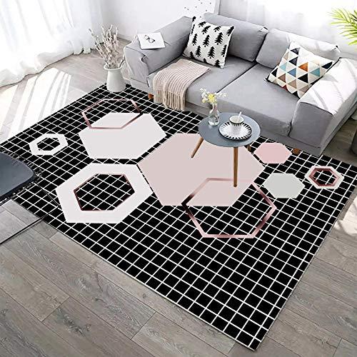 YQZS Teppich Schlafzimmer Teppich Orientteppich Kleines schwarzes Gitter Super Soft Area Teppich Anti-Skid Teppich,160X230(63X90inch)
