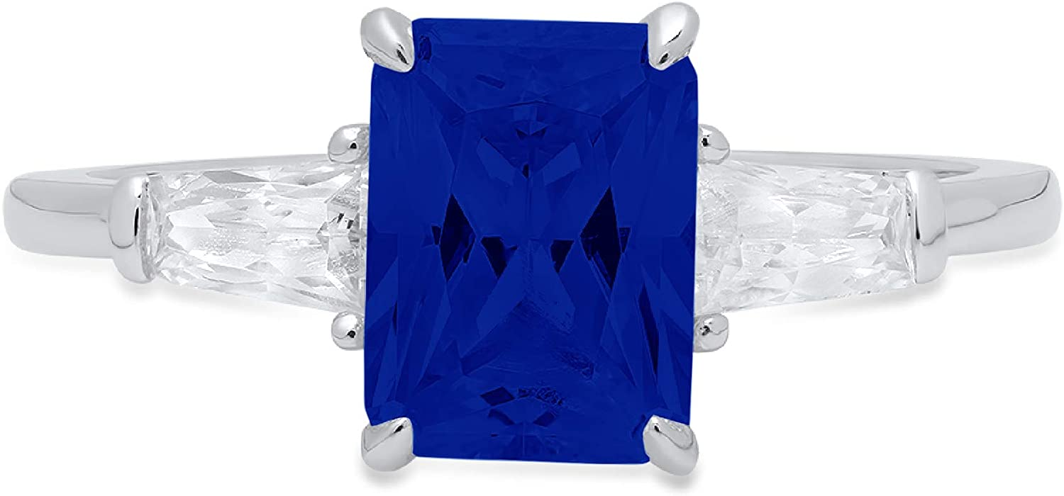 Max 84% OFF 1.94ct Emerald Baguette cut Manufacturer OFFicial shop 3 Accent Solitaire stone with Flawle