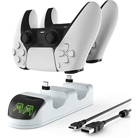 ETPARK Ricarica Controller PS5, Base di Ricarica per Controller con Indicatore LED, PS5 Dual Controller Caricatore con 2 Porte di Ricarica di Tipo C Rimovibili, Bianco
