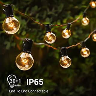 Teletrogy 33FT G40 Globe String Lights 30Bulbs Hanging Indoor Outdoor String Lights IP65 Waterproof Patio Lights Decorative String Lights for Backyard Patio Party Wedding Gazebo Porch Garden UL
