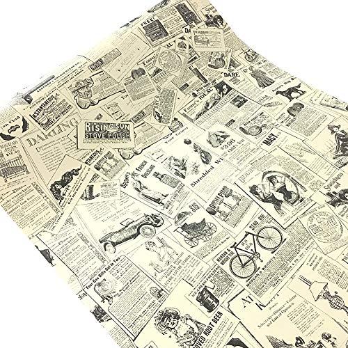 WDragon Klebefolie, selbstklebend, Vintage-Zeitung, für Möbel, Tapeten, Schränke, Schrank, Regal, 45 cm x 250 cm