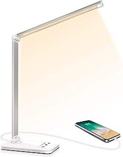 Lampe de Bureau LED, Lampes de Bureau Dimmable 5 Modes de Couleur 10 Niveaux de Luminosité, Flexible Contrôle Tactile Prot...