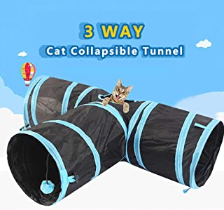 Tomshine Cat Tunnel 3 Way Pet Play Tunnel Collapsible Tunnel Toy for Cats Dogs Rabbits Pets