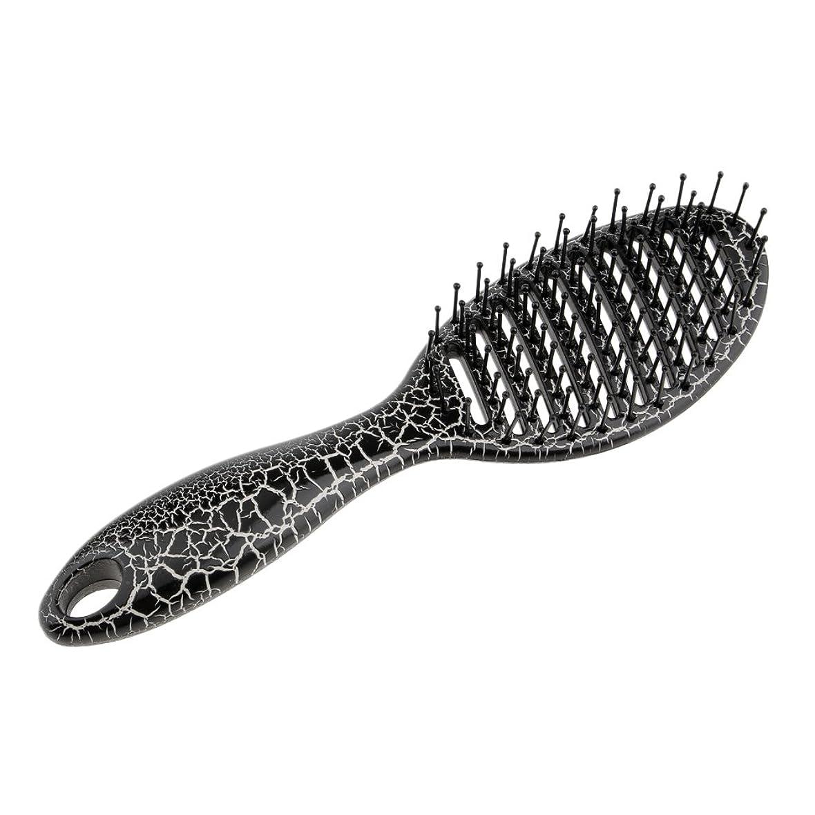 おんどりテスト冷酷なユニセックスサロンヘアブラシマッサージディタングルパドルヘアブラシ大きな行の櫛 - ブラック