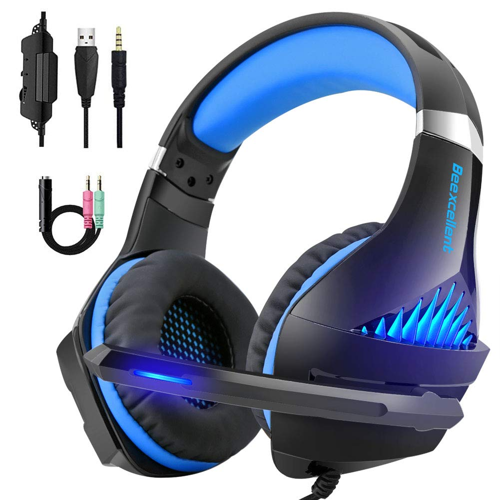 Beexcellent Gaming Headset Over Ear Headphones 3.5mm Jack Cable for PS4, Xbox One, PC with Noise Cancelling MicVolume ControlLED Light