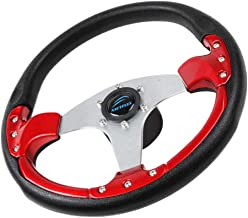 D DOLITY 3-Spoke 13.8 Inch Aluminum Boat Steering Wheel 3/4 Inch Shaft w/Soft PU Foam Grip for Marine Yacht Pontoon Boats