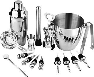 SKEIDO 16 Pcs Stainless Steel Bar Wine Tools Martini Cocktail Shaker Full Set