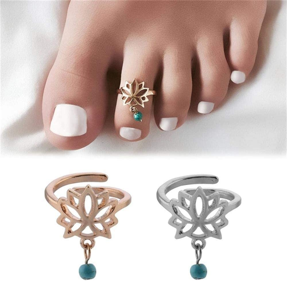 CUTIHO 1pc Bohemian Charm Compatible with Lotus Flower Carved Adjustable Toe Ring Open Foot Finger Ring Beach Jewelry Accessories - 31563665