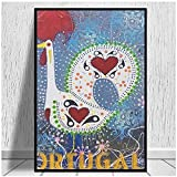 djnukd Barcelos Portugal Style Peacockcanvas Prints Canvas Art Painting Wall Art Poster Living Room Home Decor Painting Hotel Apartment 50X70Cmx1 No Frame