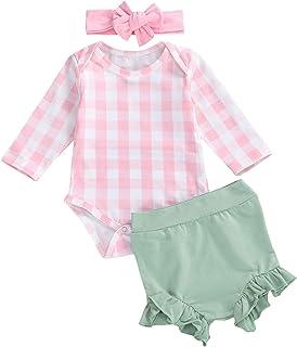 Carolilly, Conjunto de 3 piezas para bebé de manga larga + pantalones + diadema con lazo para niña