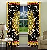 AUNERCART Yellow Black Horoscope Cotton Window Curtains Tapestry Home Decor Room Darkening Window Treatments &...