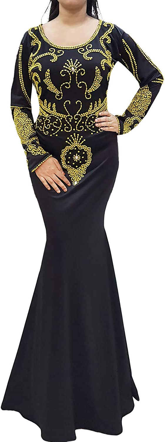 African Boutique Embroidered Hand Beaded Spandex Mgoldccan Kaftan Dresses for Women