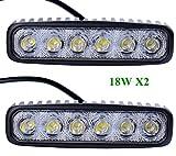 Greenmigo 2pcs Barra LED Fuoristrada 18W IP67 CREE LED Light Bar Barra Luminosa LED Auto Faro da Lavoro Luce Fari LED Auto Fendinebbia Impermeabile Flood e Spot per Auto Camion