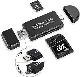 【Type-C/Micro usb/USB 3in1】メモリカードリーダー SDメモリーカードリーダー USBマルチカードリーダー OTG SD/Micro SDカード両対応 多機能 データ転送 Type-C/Micro usb/USB接続 パ...