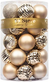 Best KI Store Christmas Balls Champagne Shatterproof Christmas Tree Ball Ornaments Decorations for Xmas Trees Wedding Party Home Decor 2.36-Inch Hooks Included Reviews