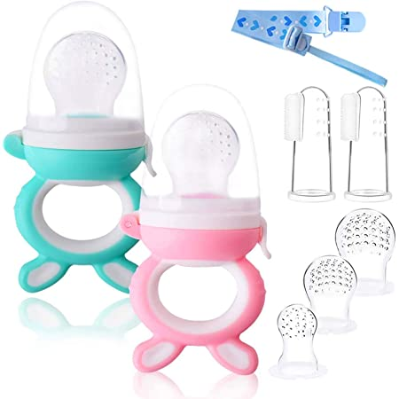 2pcs Chupete Fruta Bebe+ 3 cabezas de reemplazo + 1pcs Cadena de Chupete + 2pcs Cepillos de Dedo para Bebés Regalos para Bebés (2pcs Forma de conejo)