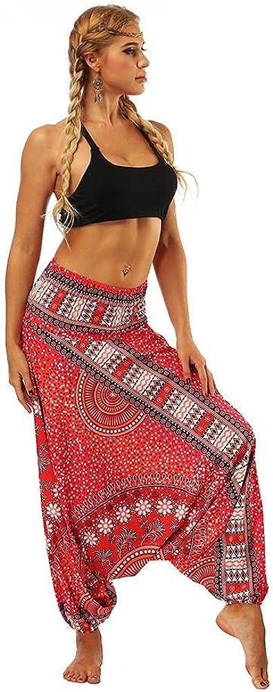 Harem Pants for Men and Women, Casual Boho Printed Loose Baggy G