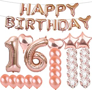 Sweet 16th Birthday Decorations Party Supplies,Rose Gold Number 16 Balloons,16th Foil Mylar Balloons Latex Balloon Decoration,Great 16th Birthday Gifts for Girls,Women,Men,Photo Props