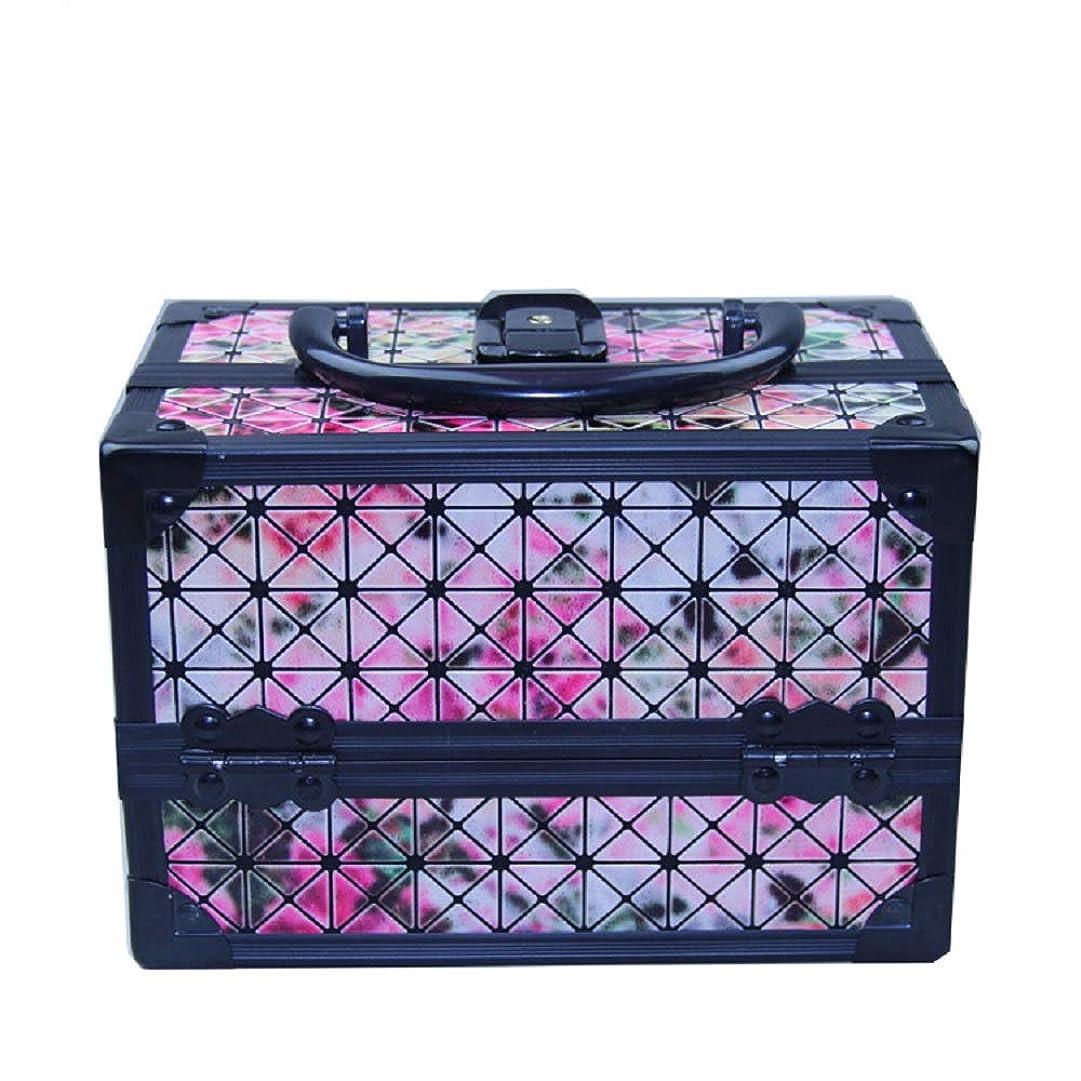 重荷人物明確な化粧オーガナイザーバッグ 美容メイクアップと女の子の女性のための光沢のあるポータブル化粧ケースケースとロックとトレイ付きの毎日の保管 化粧品ケース