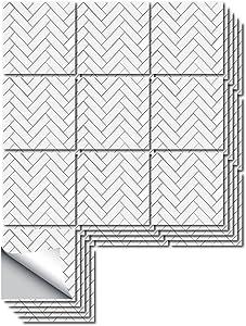 funlife Flat Smooth Non 3D Back Glue Tiles Sticker, Peel and Stick Backsplash Kitchen Tile, Wall Decor for Kitchen Bathroom Living Room, Herringbone Decor 5.9