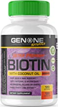 GenOne Nutrition - Biotin with Coconut Oil - Hair, Nail and Skin Supplement - Natural and Vegan - 5,000 mcg, 120 Capsules
