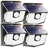 140 LEDs Solar Lights Outdoor, Motion Sensor Wall Lights with 270°Wide Angle, 3 Lighting Modes, IPX7 Waterproof Durable Solar Security Lights for Garage, Fence, Deck ,Front Door, Yard 4 Pack