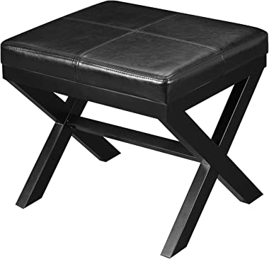 "Adeco Black Bonded Leather Contrast Stitch Ottoman x-Shaped Legs 19.25x16.5 footstool bench, 19-1/4""L 16-1/2""W 17-1/2""H,"