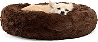 Caresful The Original Calming Donut Cat and Dog Bed in Lux Fur, Machine Washable, Orthopedic Relief, for Pets Brown