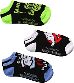 Ghostbusters Logo, Slimer, Stay Puft Man 3-pack Adult No-show socks
