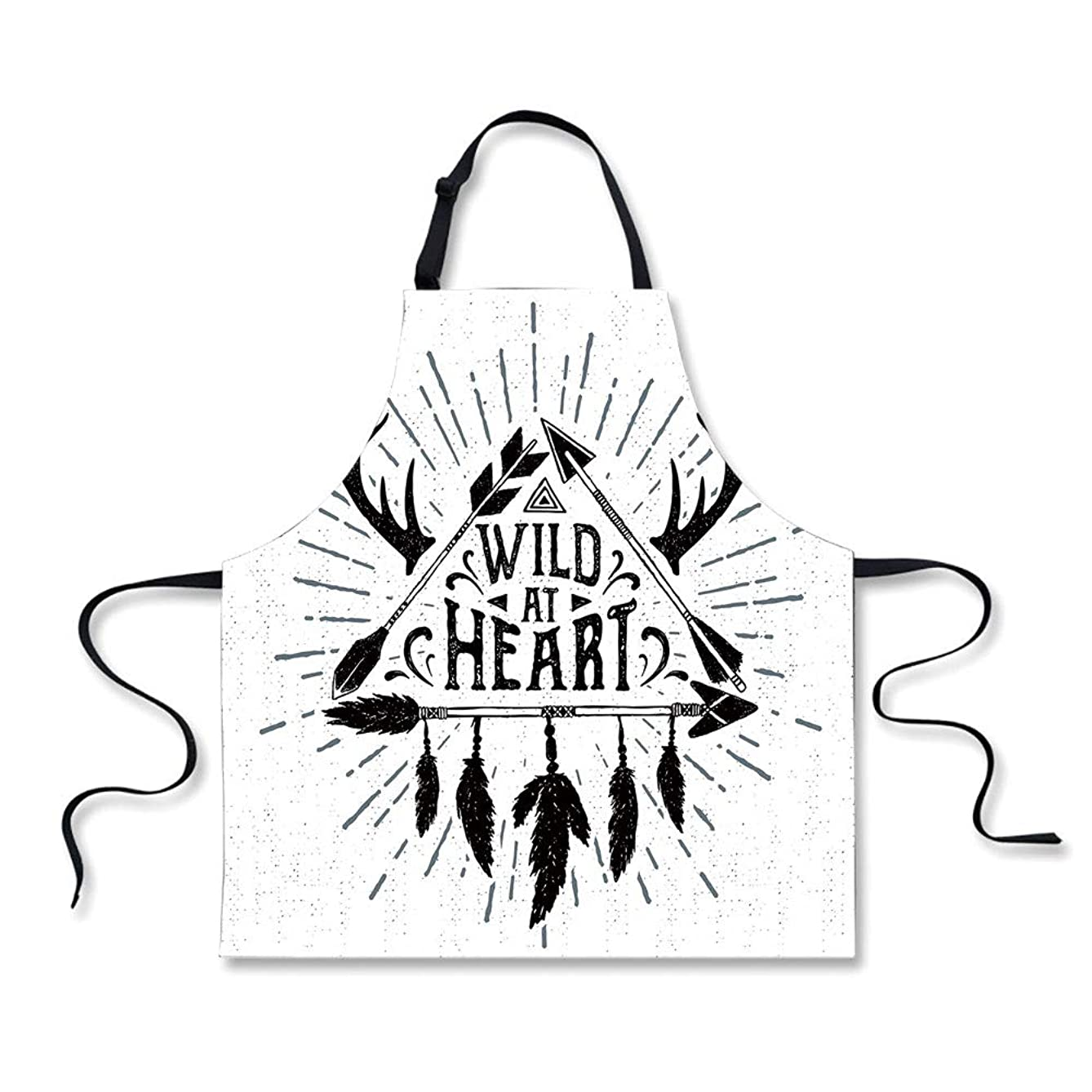 iPrint Cooking Apron,Antler Decor,Wild at Heart Text Triangle with Ethnic Arrow Native American Design,Black Grey White,3D Print Apron.29.5