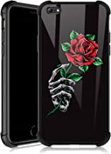 iPhone 6s Plus Case,Skeleton Hand Holding Rose iPhone 6 Plus Cases for Girls,Tempered Glass Back Cover Anti Scratch Reinforced Corners Soft TPU Bumper Shockproof Case for iPhone 6/6s Plus Skull Red