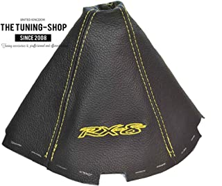 The Tuning-Shop Ltd for Mazda Rx-8 2003-2012 Manual Shift Boot Black Leather Yellow RX-8
