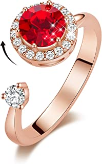 Rotating Birthstone Rings for Girls Womens Birthday Christmas Thanksgiving Gifts Embellished with Crystals from Swarovski Ring 18K White/Rose Gold Plated Adjustable Size 5-9 for Mom Wife