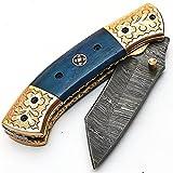 Coltello pieghevole, coltello da tasca, coltello fatto a mano su misura, coltello a lama in acciaio damasco, con fodero in pelle, coltello da cuoco artigianale, coltello da cucina forgiato a mano 9587