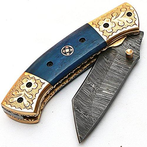 PAL 2000 Klappmesser, Taschenmesser, handgefertigtes Messer aus Damaststahl, mit Lederscheide, handgefertigtes Kochmesser, handgeschmiedetes Küchenmesser 9587