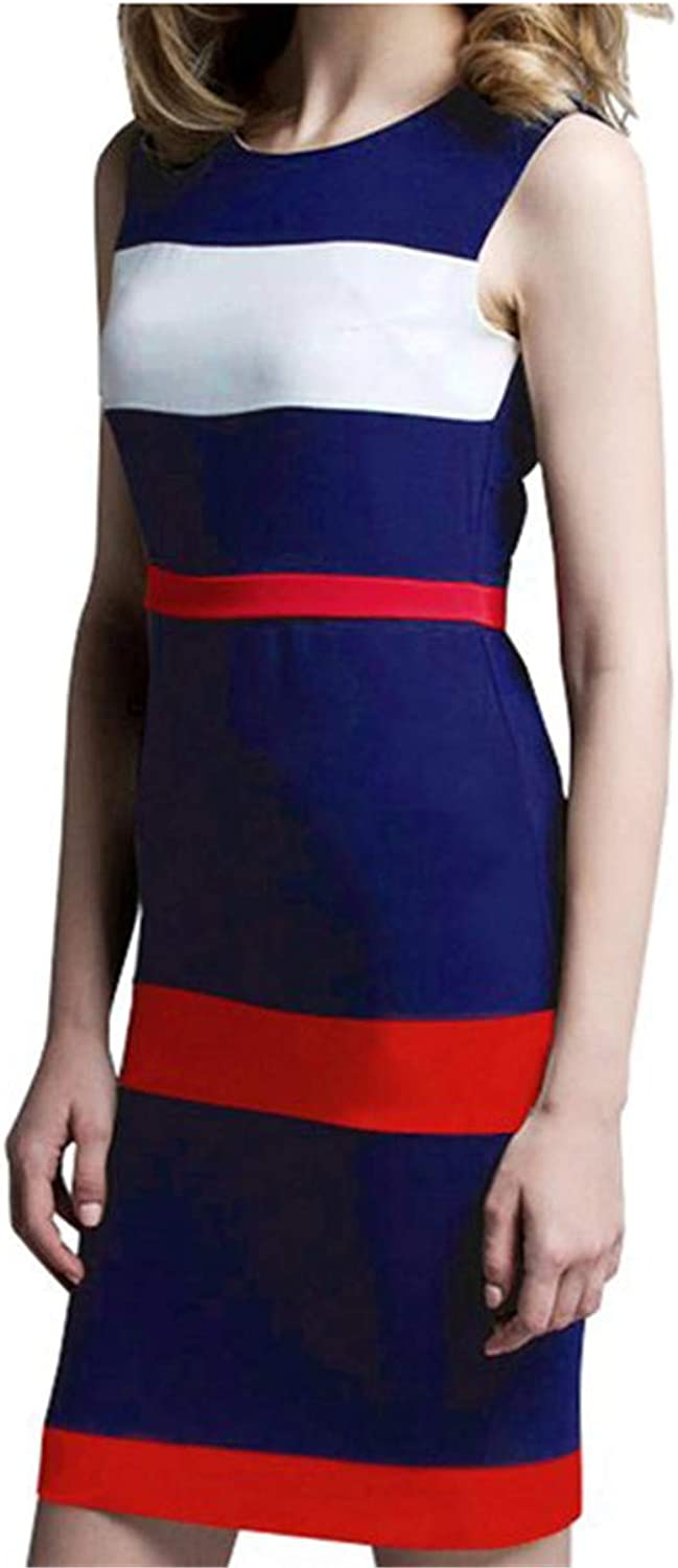 Dextrad dress Sleeveless Tank Women Round Neck colorblock Sheath Bodycon Office Summer Dresses