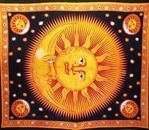 Handicrunch Wandteppich Tagesdecke Himmelsmotive Sonne Mond Sterne King Doppelbett Sofa Überwurf 0111