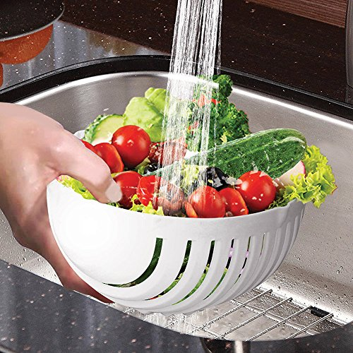 One Minute Salad Bowl Maker - Three-In-One Colander Cutting Board Serving Dish