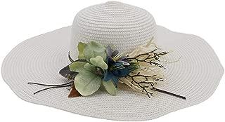 Lady's Sun hat 2019 Summer New Beach Hat for Women's Women's Travel Hat Big Hat Flower Graceful Sunscreen Sun hat (Color : White, Size : 56-58CM)