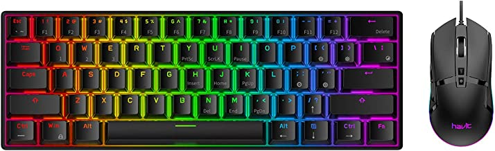 Havit 60% Wireless Mechanical Keyboard and Wired Mouse, Bluetooth 5.1 & Type C Wired 61 Keys Gaming Keyboard Brown Switch,Programmable Gaming Mouse for Multi-Device PC Laptop Gamer