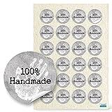 96 Stück kleine runde weiß graue 100% HANDMADE HAND Aufkleber Sticker selbstklebende Etiketten 4...