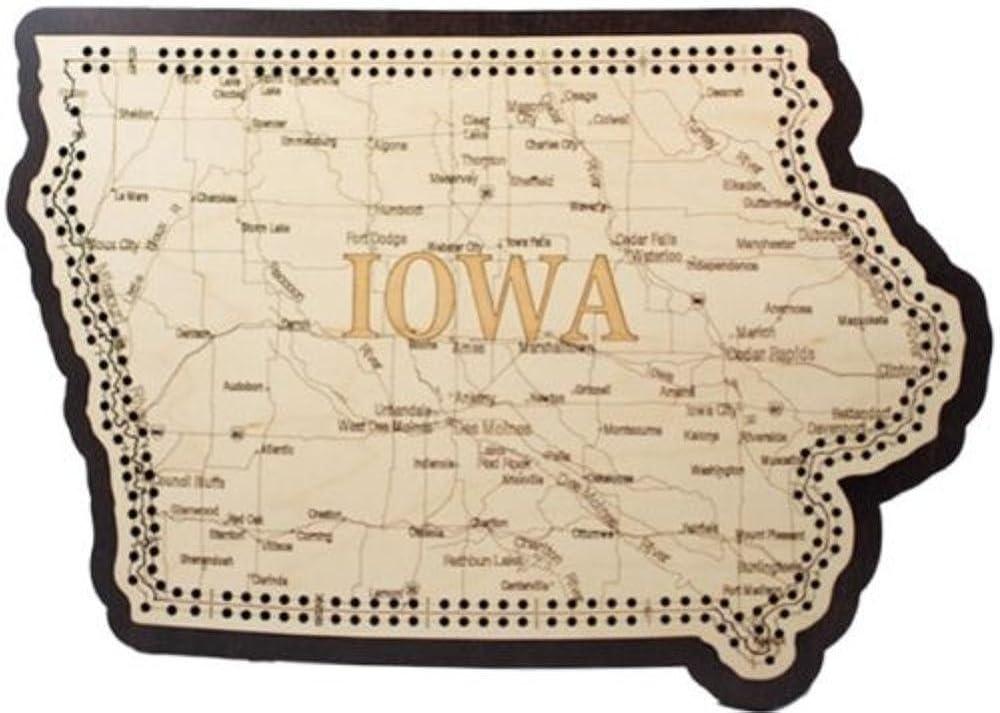 Bargain Iowa State Shape Outstanding Road Board Cribbage Map