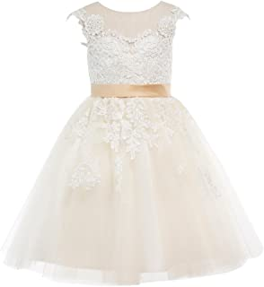 Champagne Lace Tulle Wedding Flower Girl Dress Junior Bridesmaid Dress