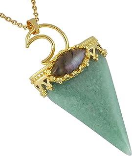Nupuyai مثلث شفاء كريستال نقطة قلادة للنساء الرجال، الذهب مطلي القمر قلادة البيضاوي مجوهرات لابرادوريت